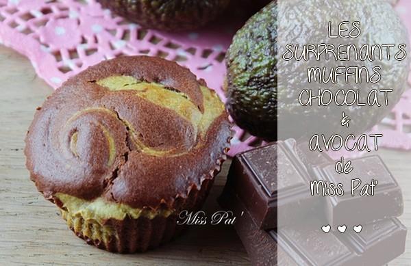 Les étonnants muffins marbrés avocat et chocolat noir de Miss Pat'
