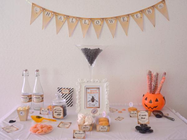 03 kit printable mybbshowershop halloween table sweet marron noir