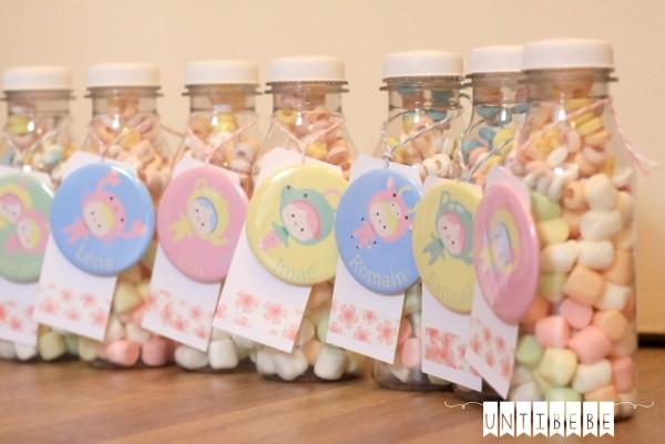 cadeau invite mariage enfant badge bouteille bonbons