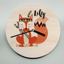 Unique personnalisé horloge murale fox renard