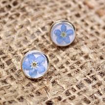 résine bleu terrarium poste boucles d'oreilles ne m'oublient pas mini boucles d'oreilles bleu déclaration
