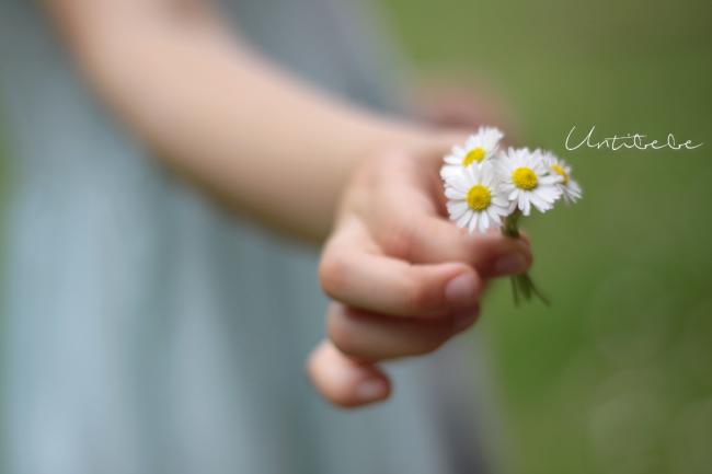 fleurs mains petite fille