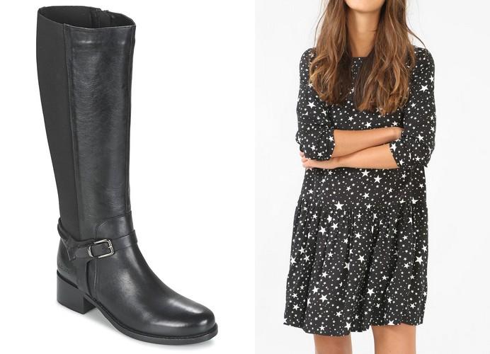 bottes kickers noir robe etoile pimkie