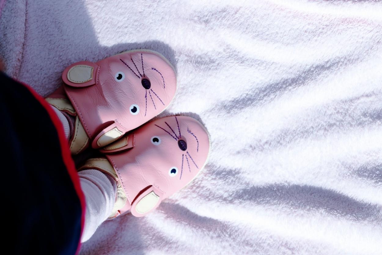 chaussons cuir souple souris tichoups